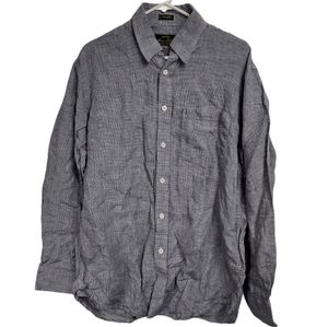 Vintage Orvis Medium linen grey herringbone shirt